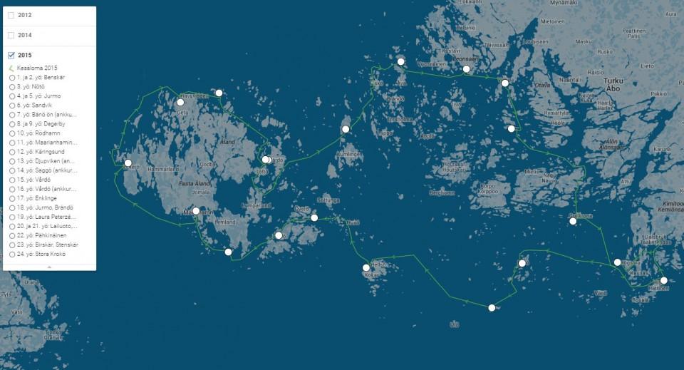 Kesän 2015 lomapurjehduksen tarkempi reitti löytyy Google Mapsista (vihreä reitti).