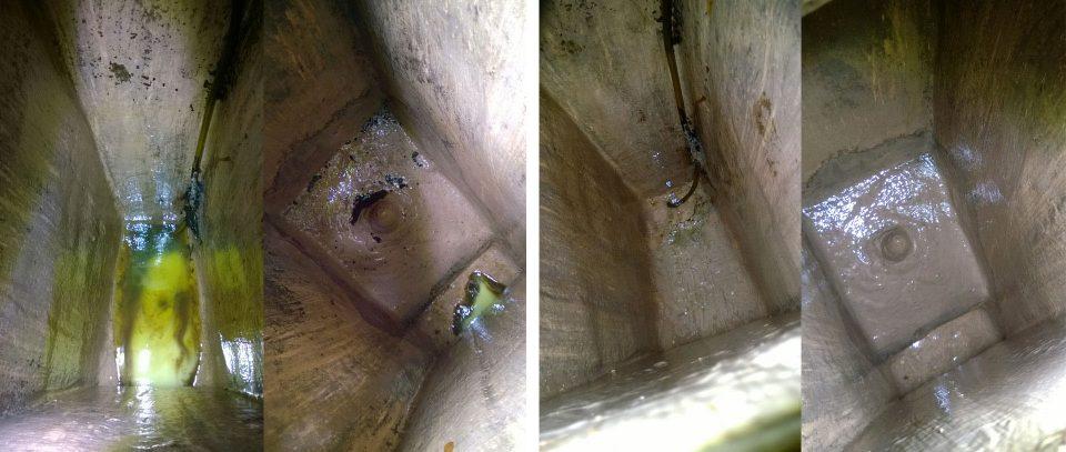 Tankki ennen ja jälkeen puhdistuksen. Kuvassa näkyvä pahkura on takimmainen kölipultti, joka on laminoitu rungon sisään.